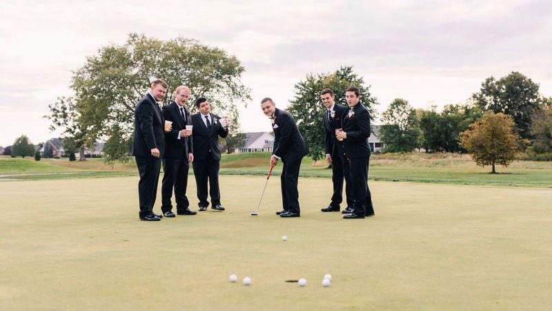 Groomsmen play golf